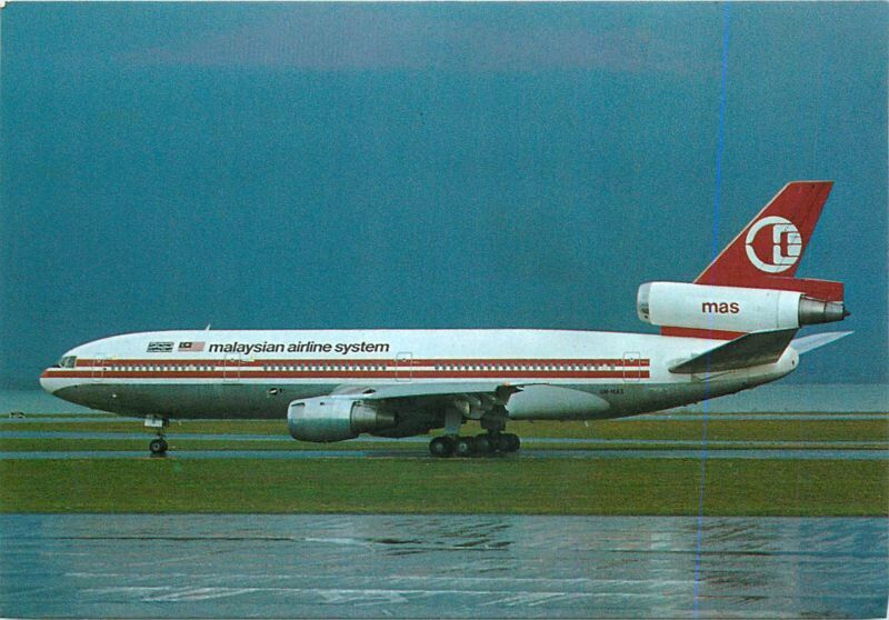 Auckland International Airport, Malaysian Airline System DC-10 Postcard
