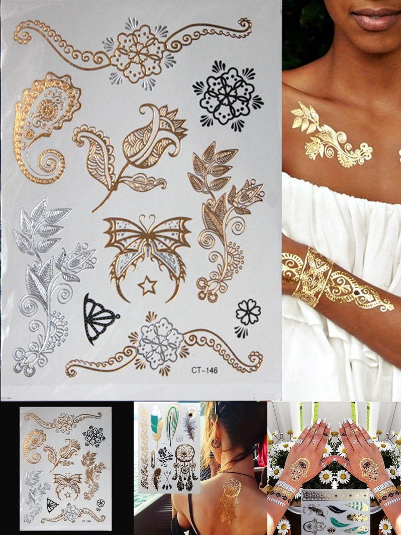 Visit To Buy Hot Flash Metallic Waterproof Temporary Tattoo Gold Silver Tatoo Women Henna Flower Gold Temporary Tattoo Flower Henna Metallic Tattoo Temporary