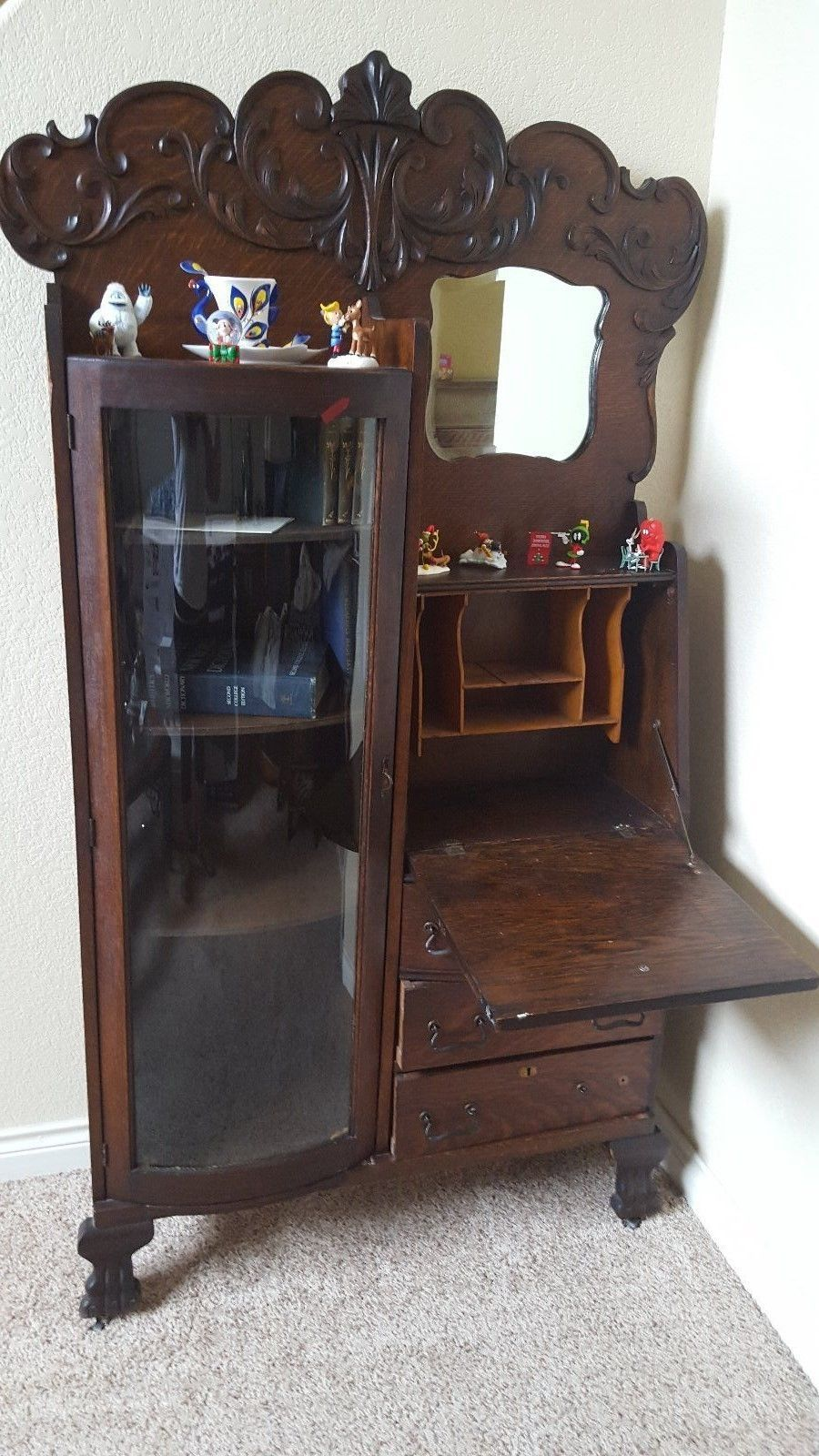 Condition This Piece Is In Great It Even Has The Original Shelve Pegs To Hold Wooden Shelves On Curved Gl Book Shelf Side