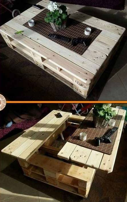 diy craft project lift top pallet coffee table diy