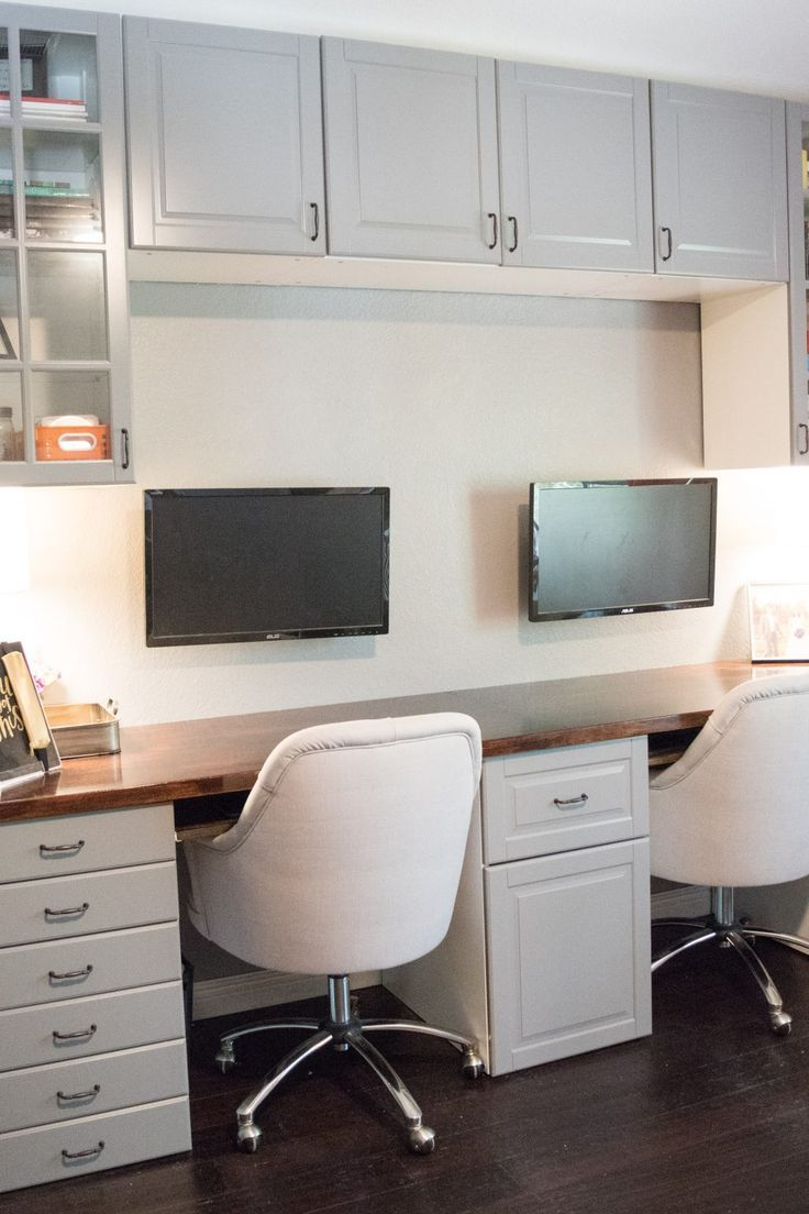 Ikea hacked faux built-ins double desk. Love the sun-filled & fresh Nordic  style office! | Apartment things and ideas | Pinterest | Double desk, ...
