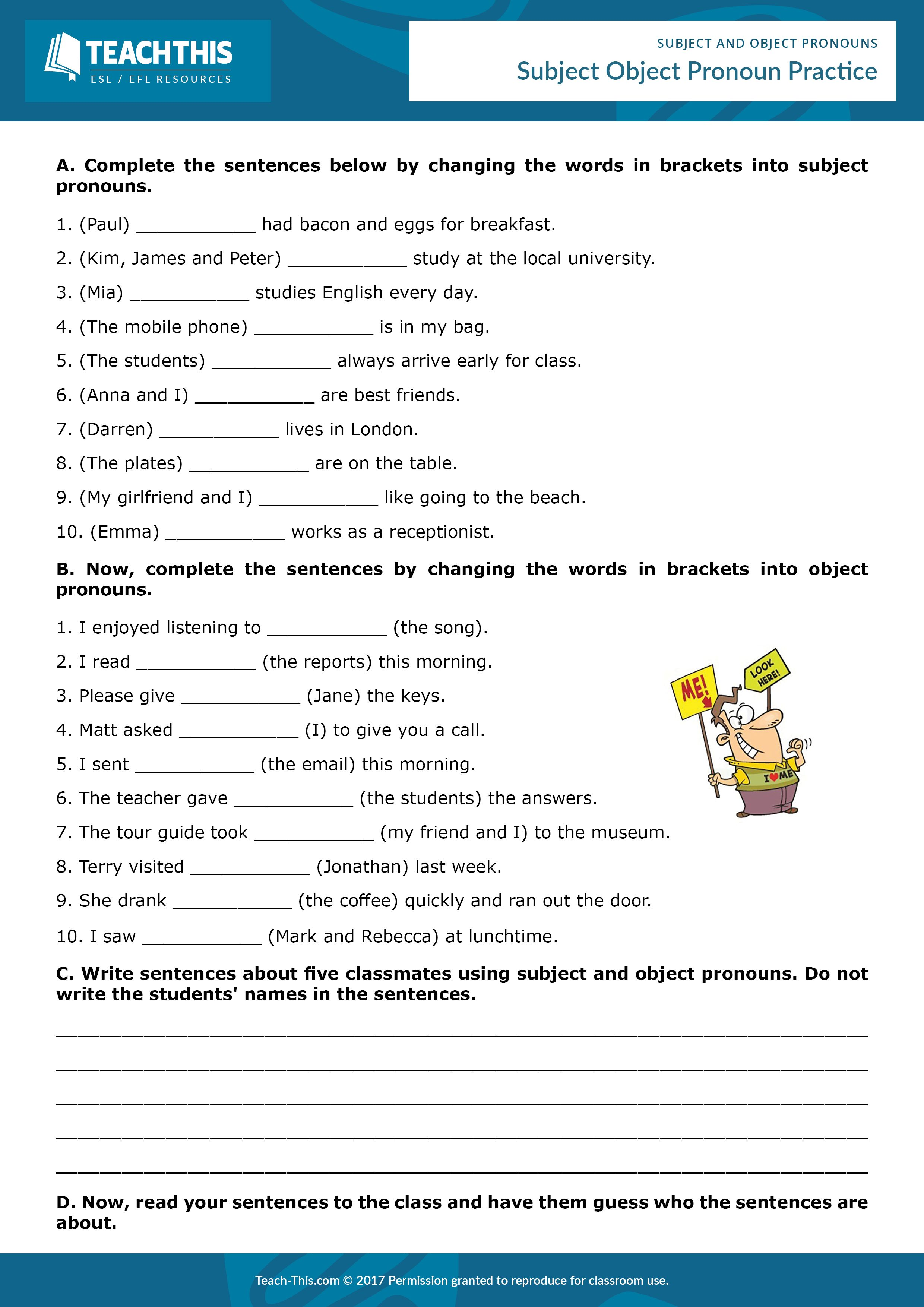 Subject and Object Pronouns Object pronouns, Teaching