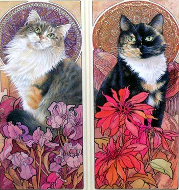 Mucha Style Cats Illustration In Style Of Alphonse Mucha