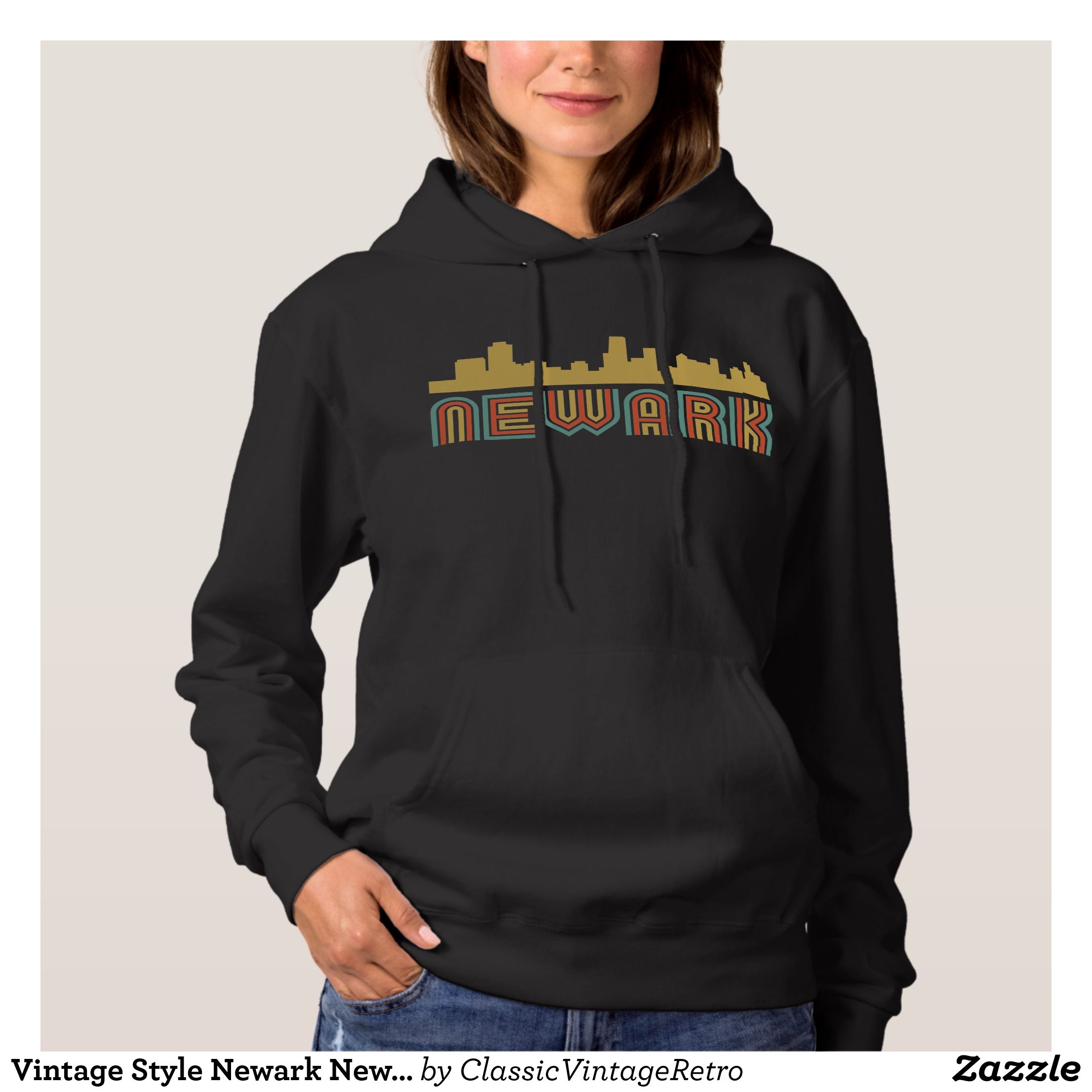 Vintage style newark new jersey skyline hoodie apparel clothing