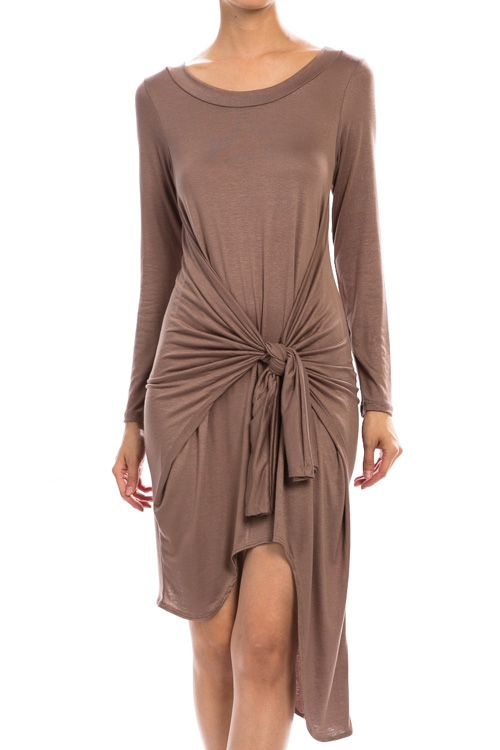Self Tie Detail Solid Dress-Mocha $23