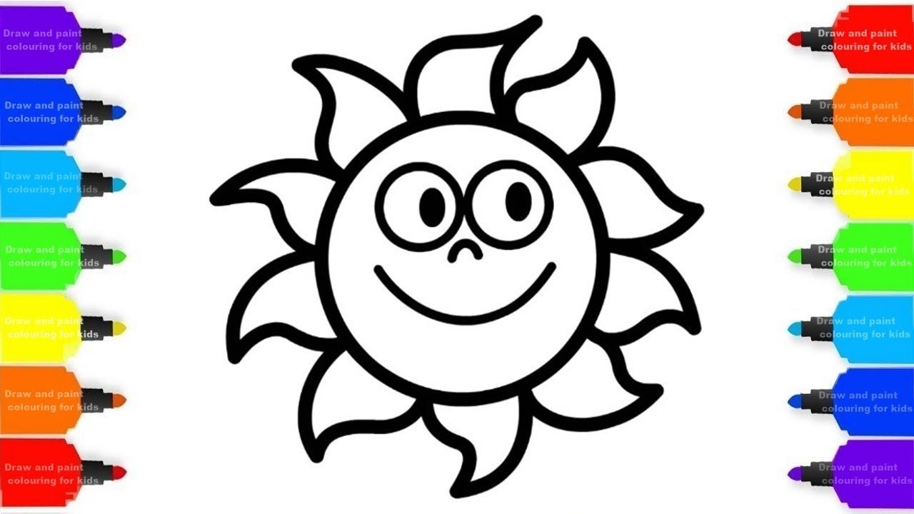 How to Draw Rainbow Sun Colorful for Kids - Coloring Pages ...