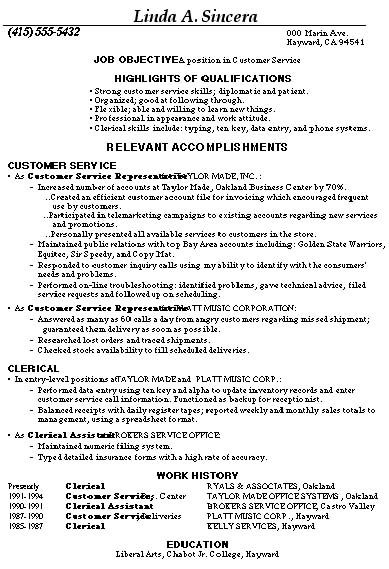 Resume For Customer Service Representative -    www - sample resume for customer service jobs