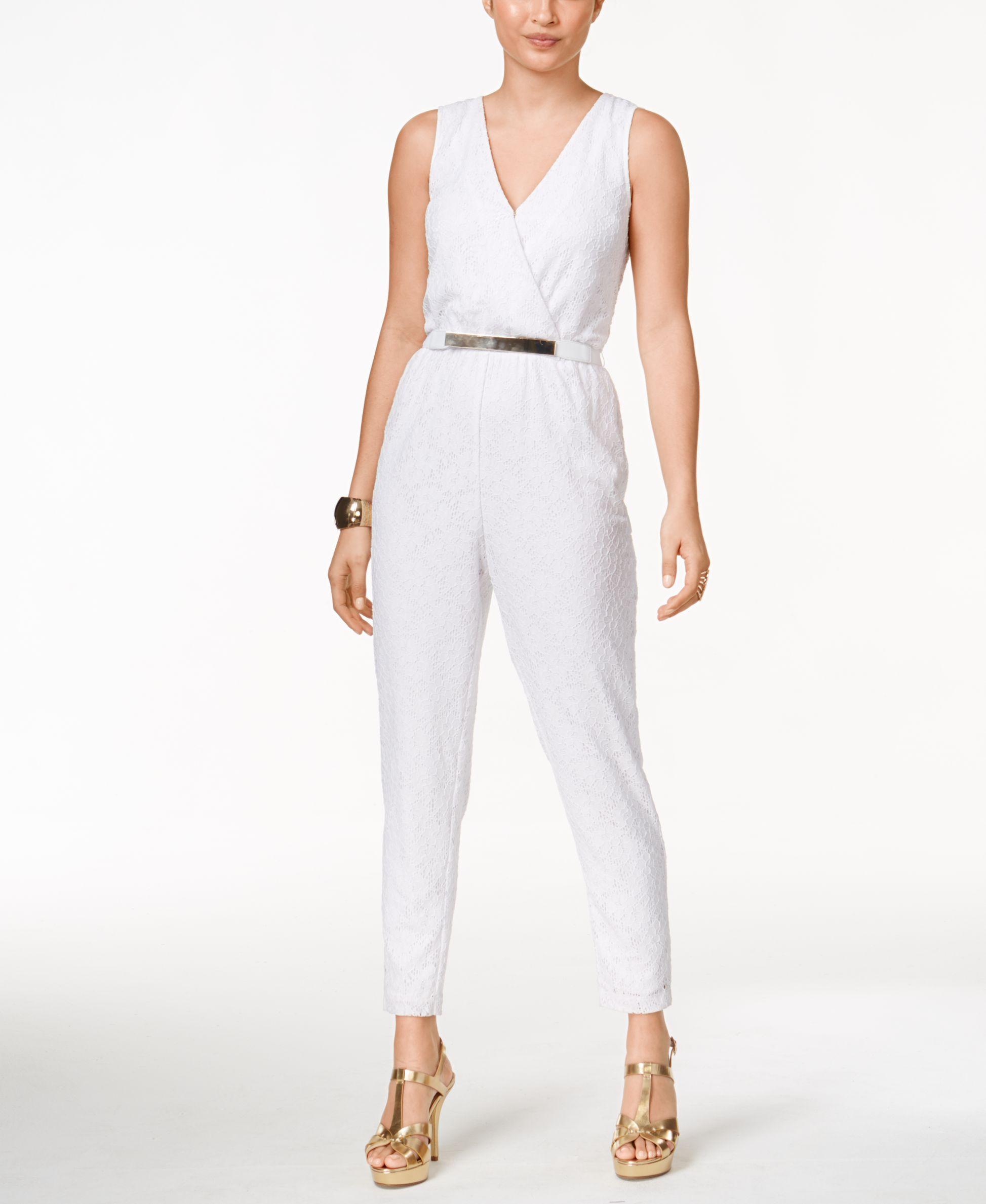7b510f2660b Thalia Sodi Lace Belted Jumpsuit
