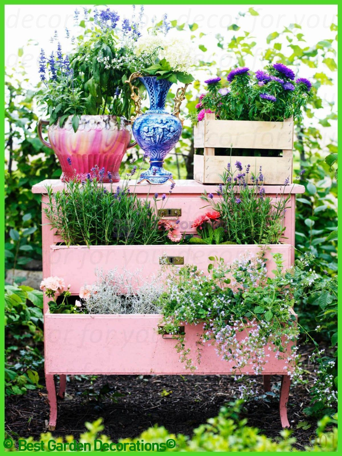 Art Gardening Inspiration Flower Garden Ideas Flower Garden Design Flower G Art Design Flower In 2020 Vintage Garden Decor Upcycled Planter Upcycle Garden