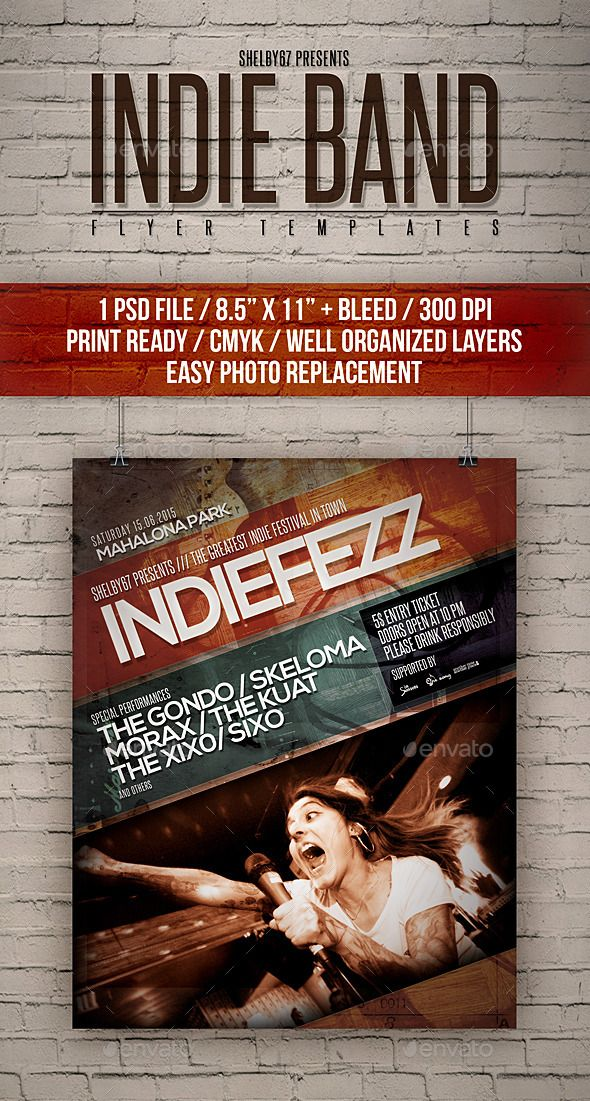 Indie Band Flyer Templates \u2014 Photoshop PSD #urban #party \u2022 Available