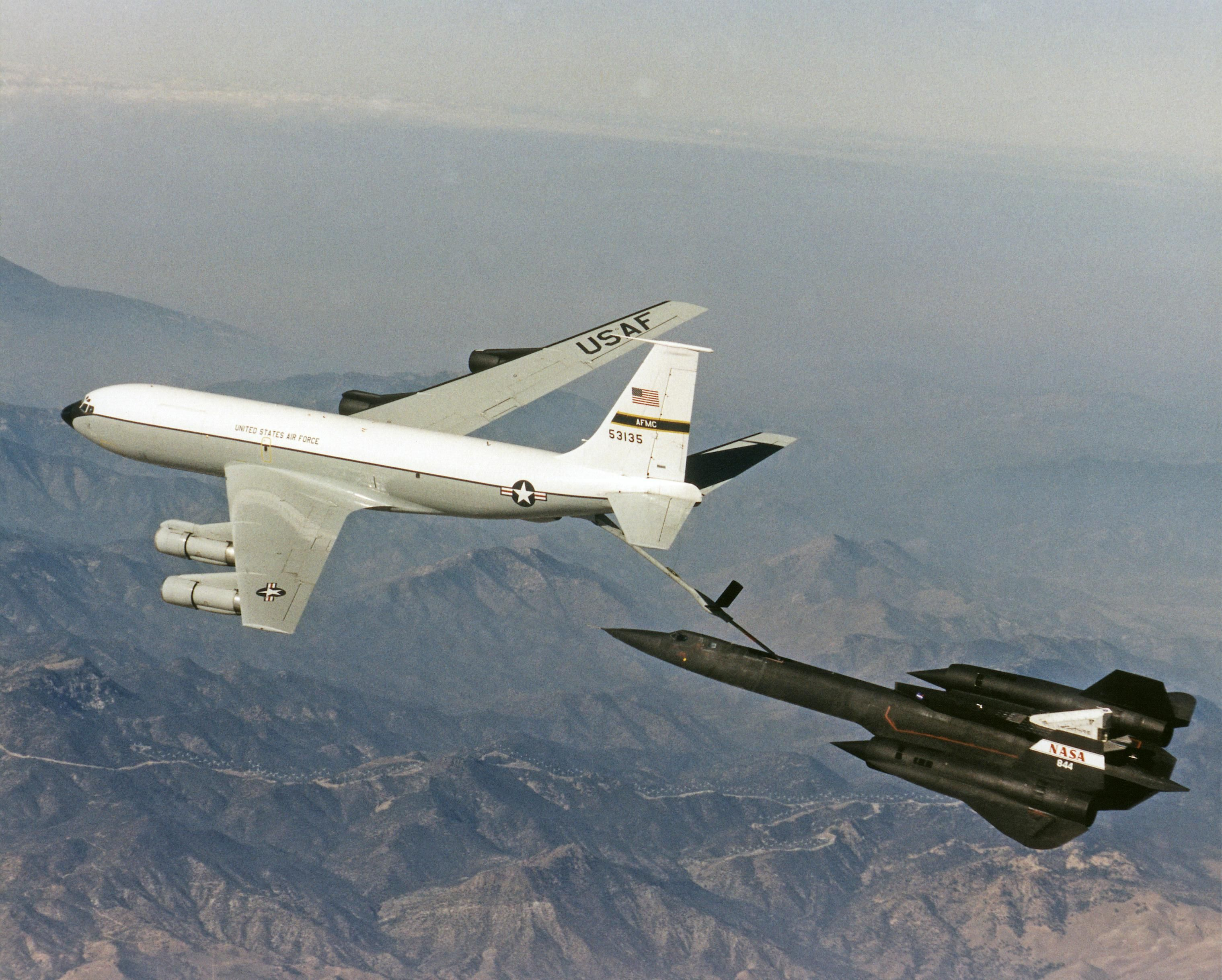 The NASA SR-71 Blackbird being Refueled by a KC-135 Tanker ...