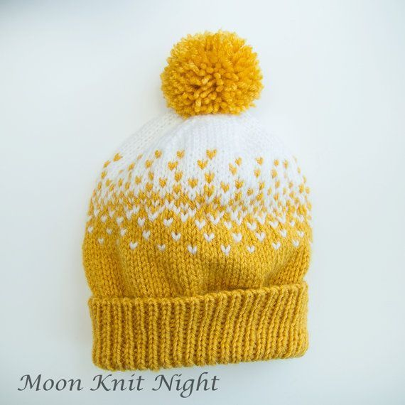 Handknit Beanie, Fair Isle Hat, Ombre, Gradient, Yellow Pompom ...
