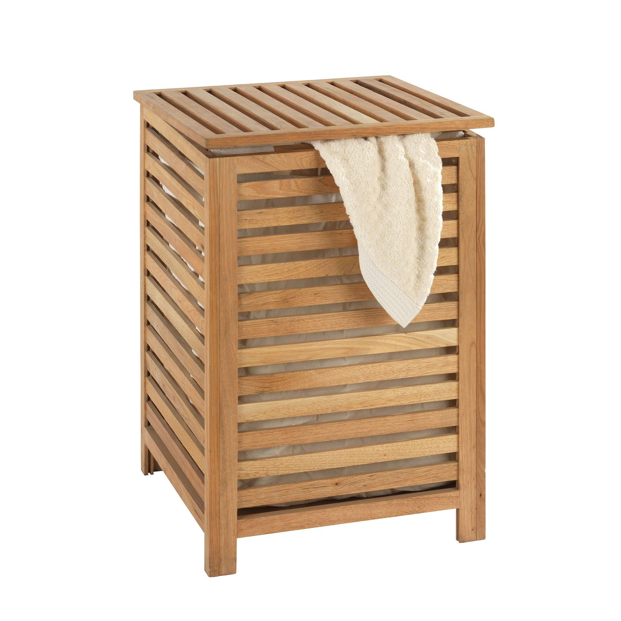 corbeille linge bois woody bain paniers linge accessoires de salle de - Alinea Salle De Bain Accessoires