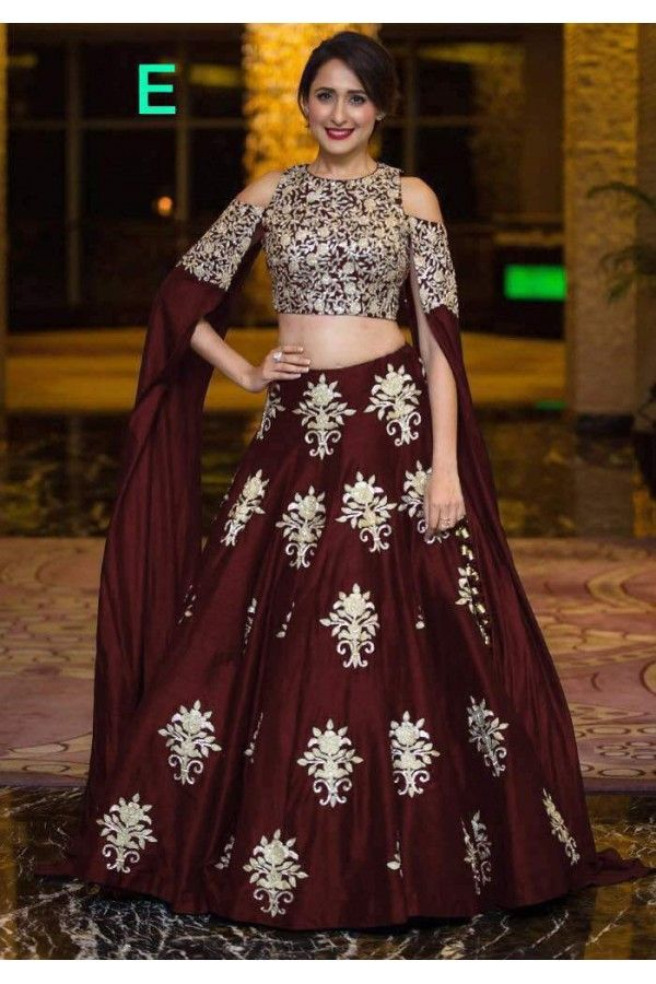 556038aad52 Bollywood Style - Party Wear Maroon Crop Top Lehenga - 9118-E ...