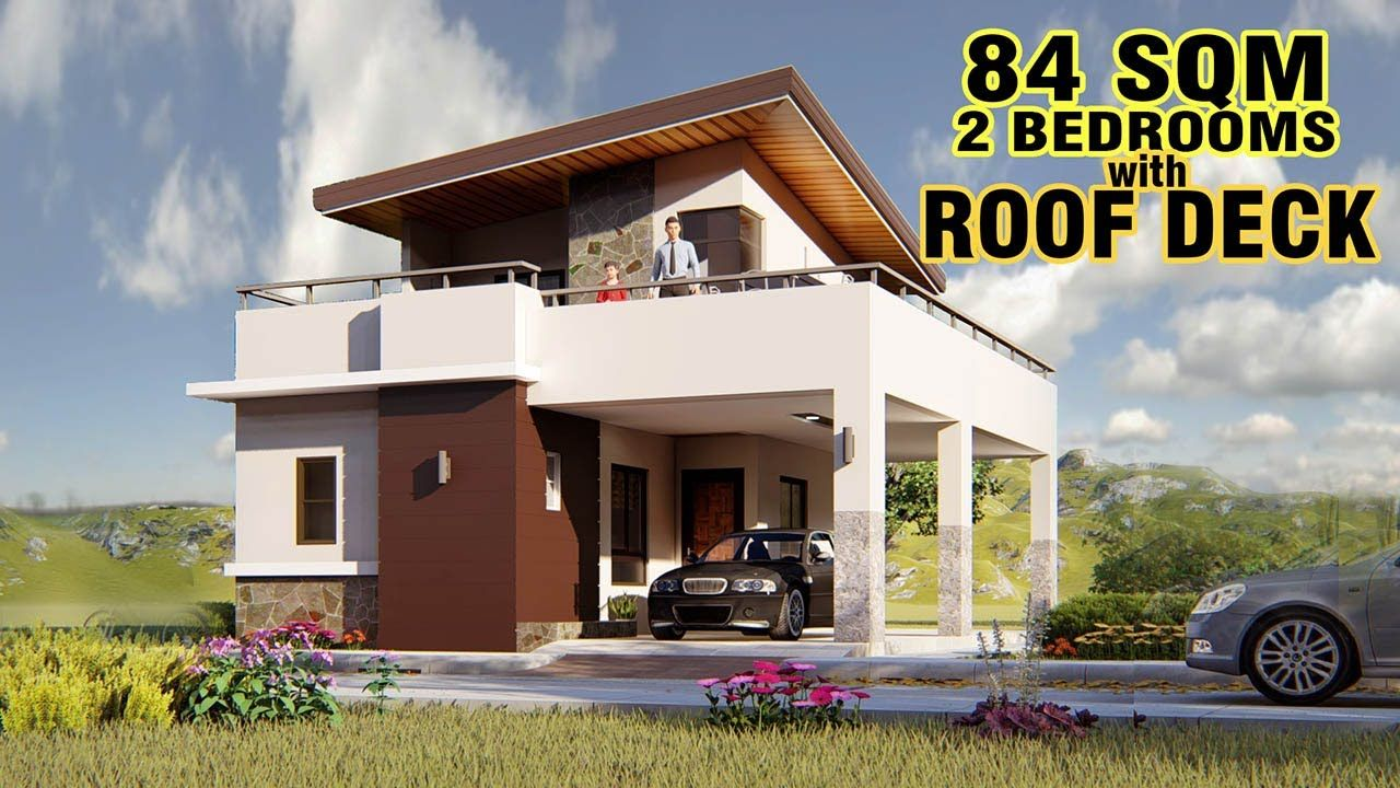 Small House Design 84 Sqm With Roof Deck One Storey House 2 Storey House Design Small House Design