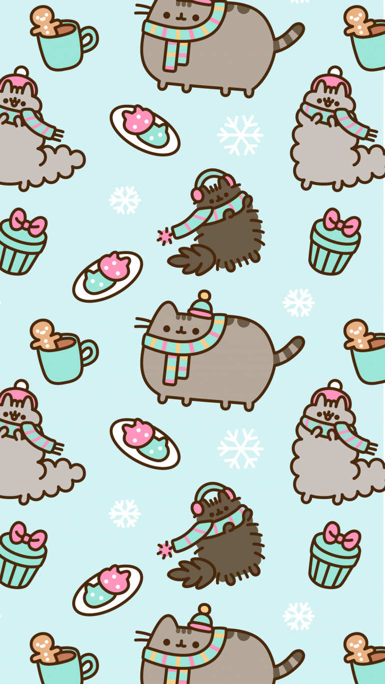 Free Exclusive Pusheen Android And Iphone Christmas Wallpapers Clairesblog Wallpaper Iphone Christmas Pusheen Christmas Christmas Wallpaper