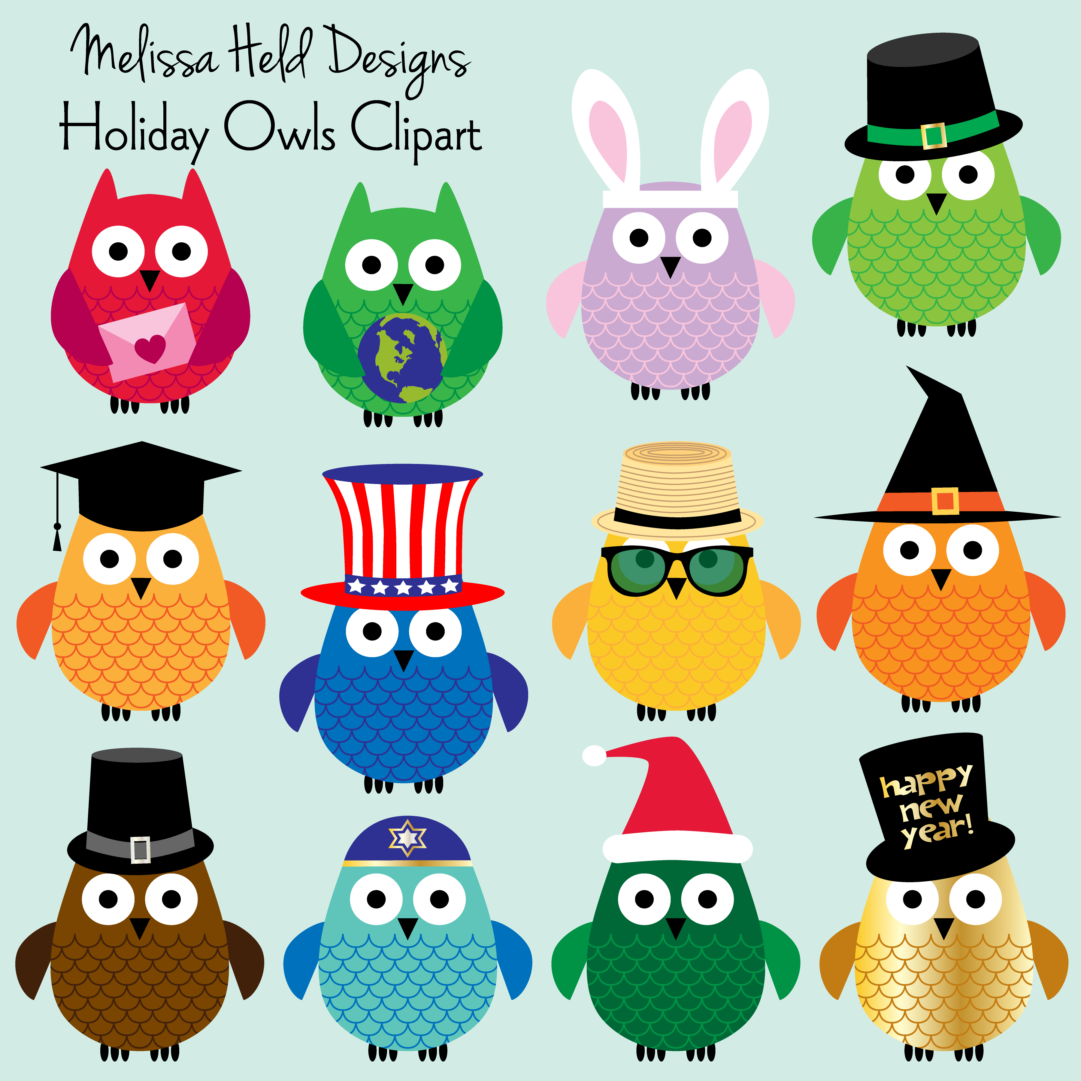 Halloween Thanksgiving Christmas Clipart.Holiday Owls Clipart Arts Crafts Christmas Owls