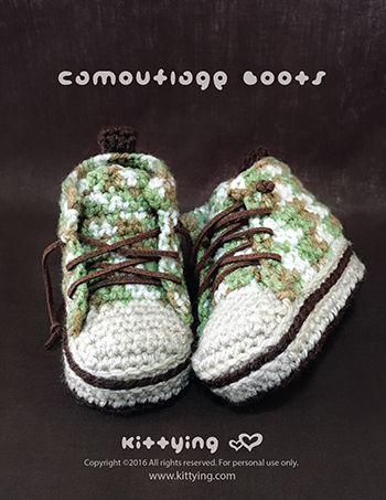 Crochet Pattern Camouflage Baby Boots | Crochet booties pattern ...