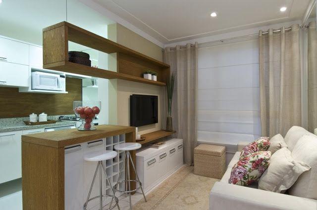Sala conjugada com cozinha pequena simples de pobre
