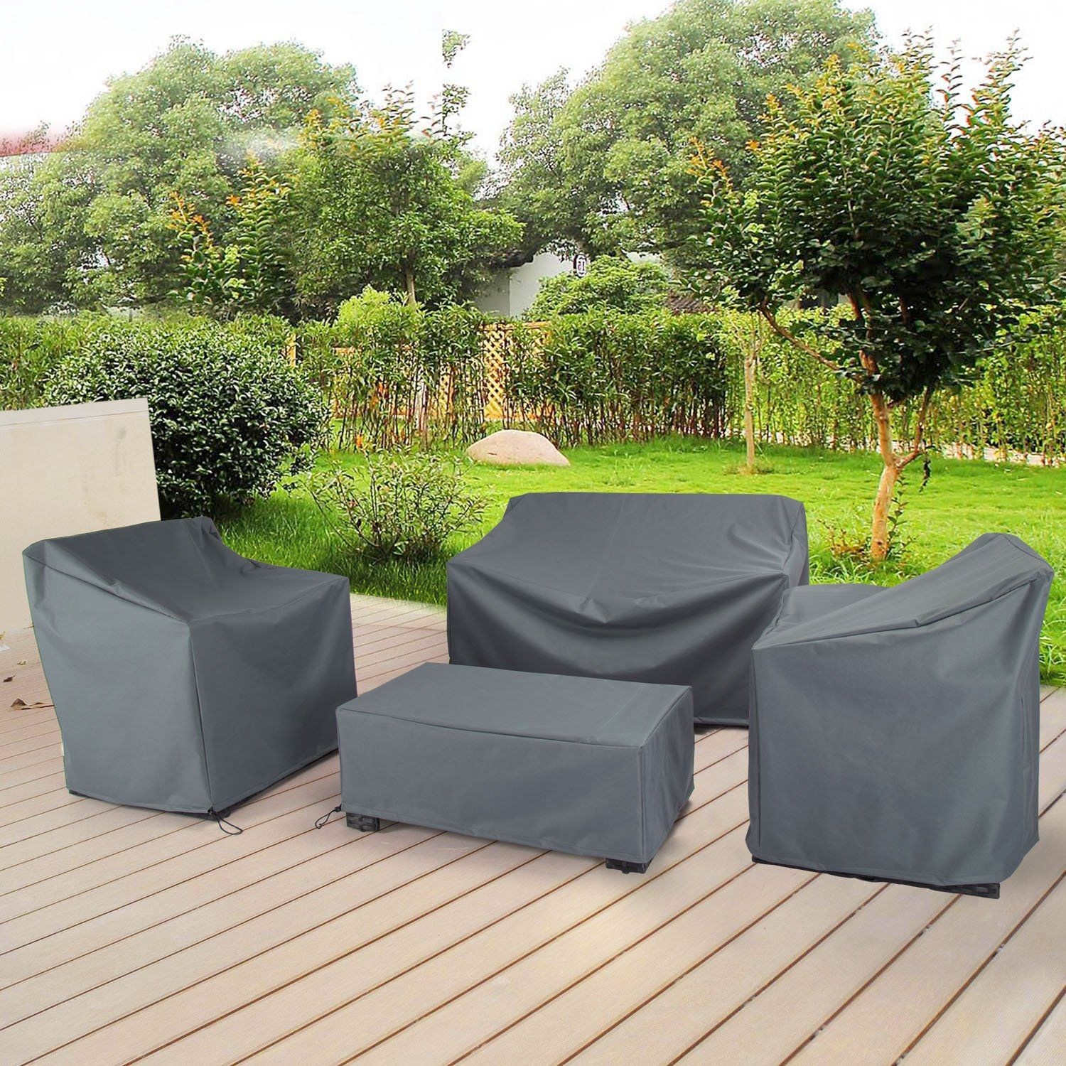 Baner Garden N87 4piece Outdoor Veranda Patio Garden Furniture Cover Set  with Durable and Water Resistant Fabric Grey *** Read more at the image  link. - Baner Garden N87 4piece Outdoor Veranda Patio Garden Furniture Cover