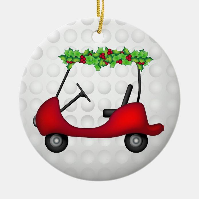 Golf Cart Christmas 1 Ceramic Ornament - tap/click to get yours right now! #CeramicOrnament #affiliatelink #holly #and #berries #christmas