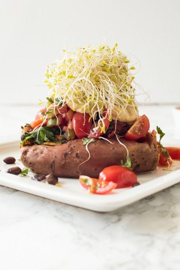 Stuffed Baked Sweet Potato Recipe | Easy vegetarian recipes from @cydconverse #vegetarian #sweetpotato