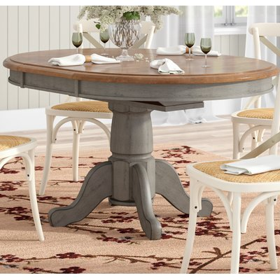 August Grove Wonderly Pedestal Extendable Solid Wood Dining Table Wayfair Dining Table Makeover Solid Wood Dining Table Wood Dining Table