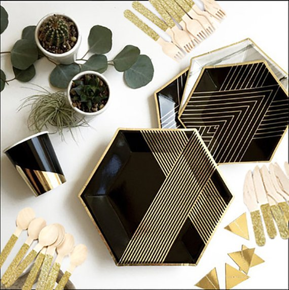 Black And Gold Party Tableware Kit Black Party Supplies For 8