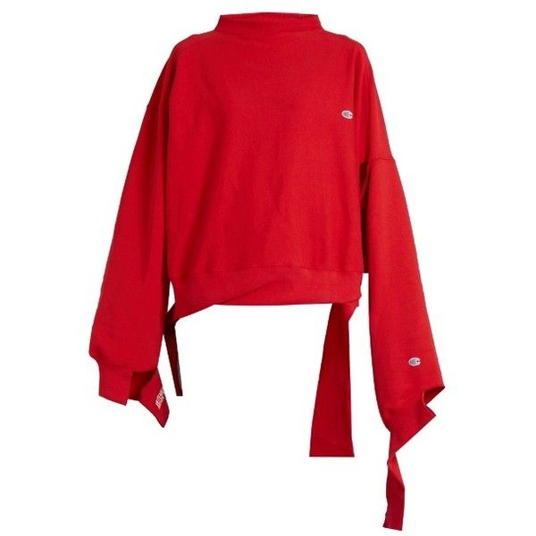 6fa0898644f5 Vetements X Champion oversized cotton-blend sweatshirt (€700) ❤ liked on Polyvore  featuring tops