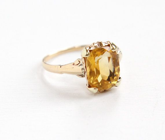 Vintage 10k Yellow Gold Citrine Ring Art Deco By Maejeanvintage Antique Rings Vintage Citrine Ring Orange Gemstone