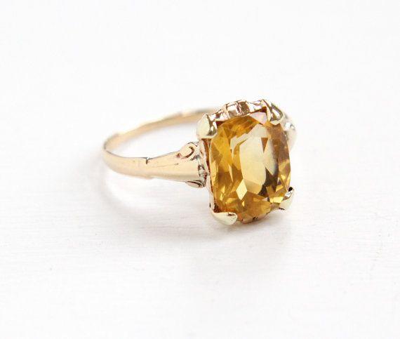 Vintage 10k Yellow Gold Citrine Ring Art Deco By Maejeanvintage Antique Rings Vintage Citrine Ring Orange Gemstone