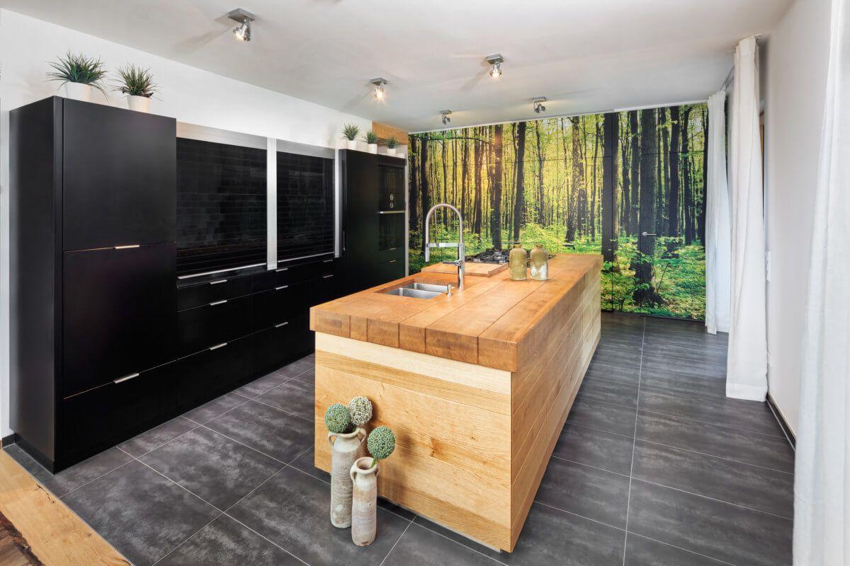 Innenarchitektur Holz Anbau Haus Foto Von Moderne Küche Mit Kücheninsel Aus & Fototapete