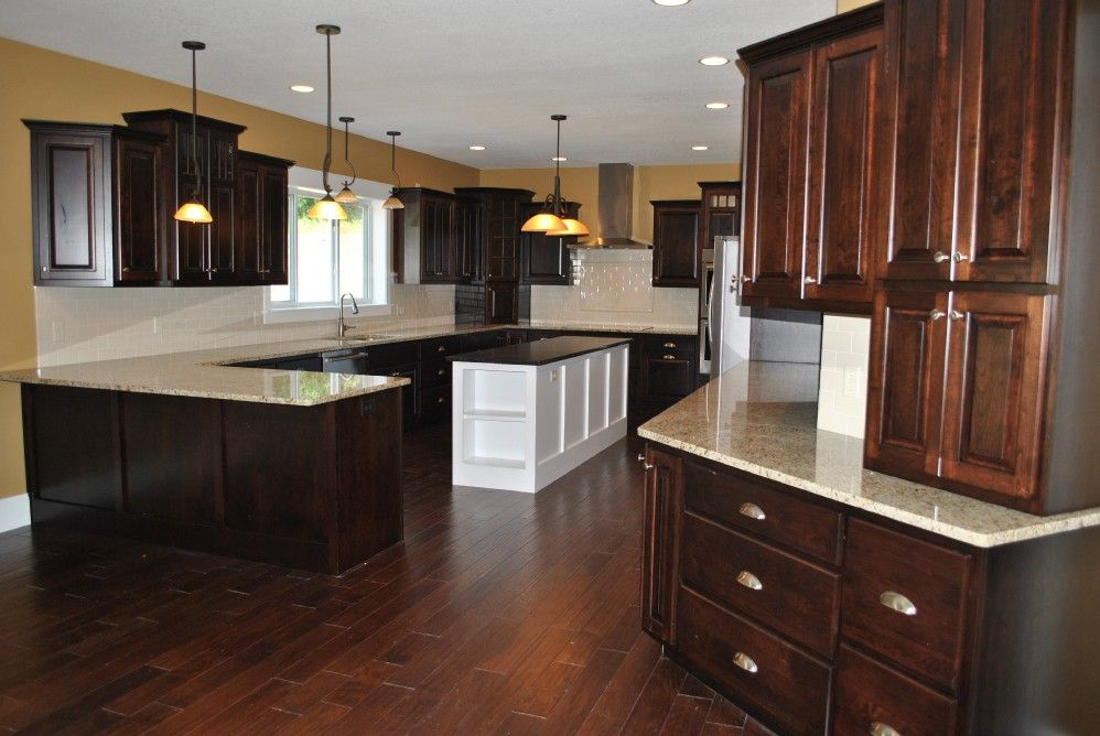Best Large Kitchen With Onyx Cherry Cabinets White Island 640 x 480