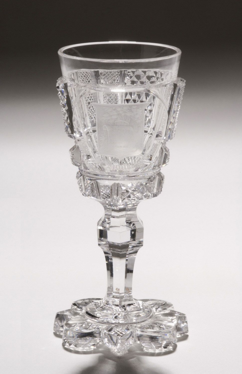 """Dorflinger, 1876-Alabama, American brilliant cut glass, 5"""", 38 pc """"Centennial Set"""" of states crests, displayed at 1876 Centennial Exhibition then donated to Philadelphia Museum of Art."""