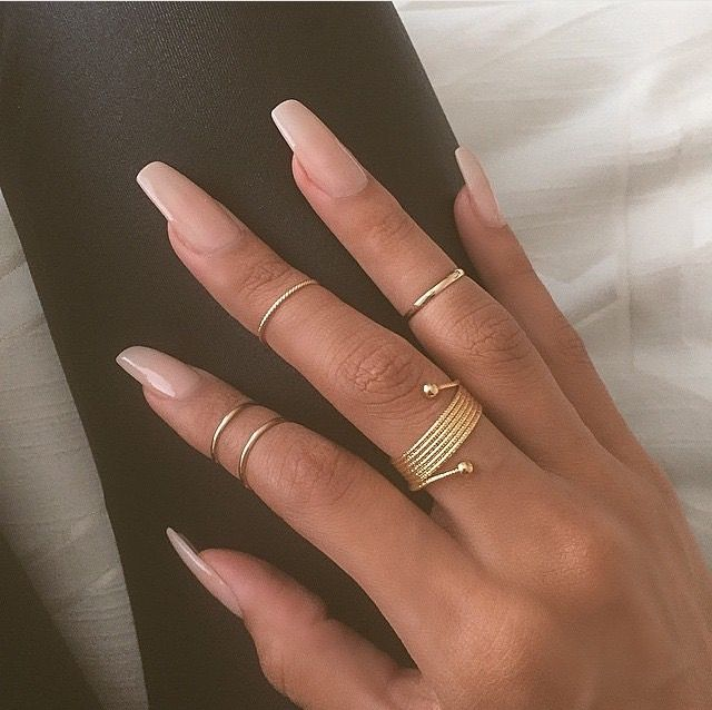 Nude trending long nails