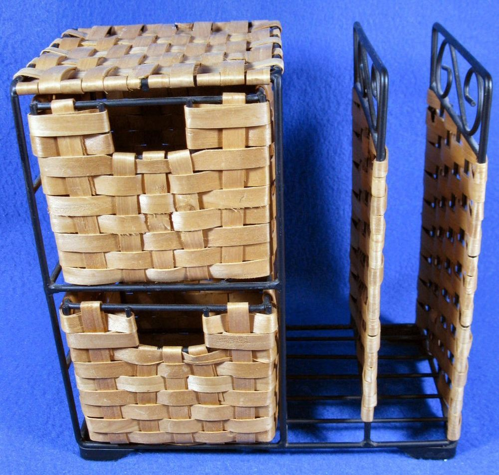Office Organizer Wicker Woven Basket Metal Frame 2 Drawers Letter/File Slots #Unknown #Woven