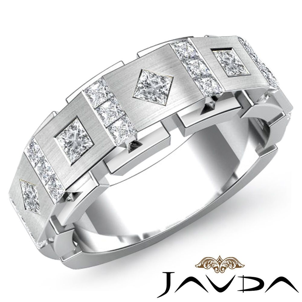 This is a graphic of 30.30mm Men Channel Bezel Set Princess Diamond Half Wedding Band
