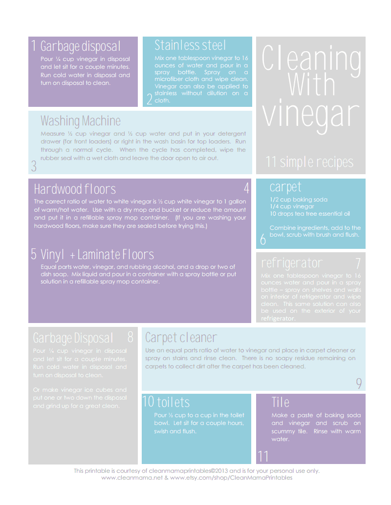 Cleaning With Vinegar - 11 Simple Recipes - Courtesy of Clean Mama.pdf