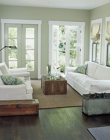 LOVE The Light Sage Green Wall Color W Dark Wood Floors Sofas