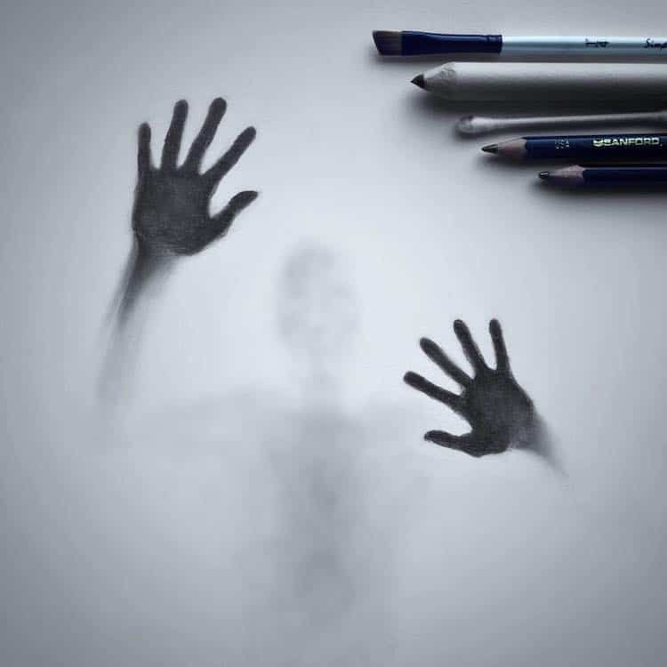Haunting Drawings Look Like Ghostly Figures Reaching Out from the Afterlife