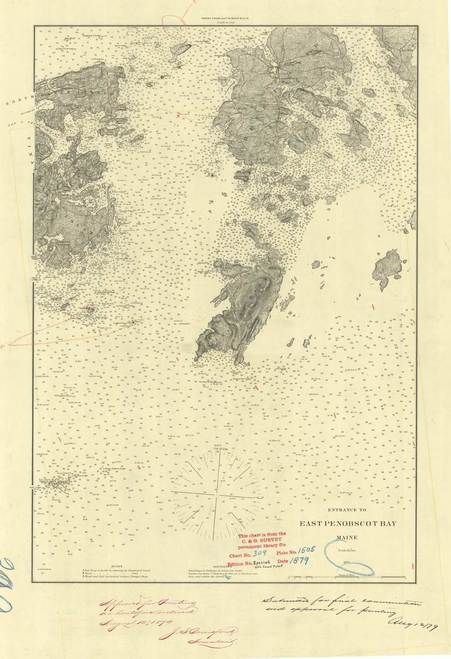 East Penobscot Bay 1879 Old Map Nautical Chart Ac Harbors 3 309 Maine Old Map Nautical Chart Penobscot