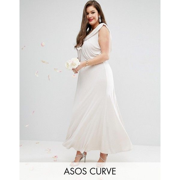 50c80de8edc ASOS CURVE WEDDING Slinky Drape Front Maxi Dress (1.985 UYU) ❤ liked on  Polyvore featuring dresses