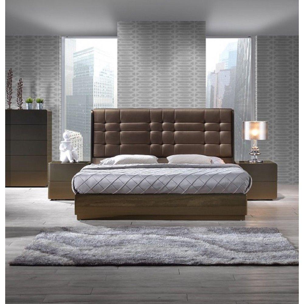 High bed platform - Ferrara Platform Bed In Gold High Gloss By J M
