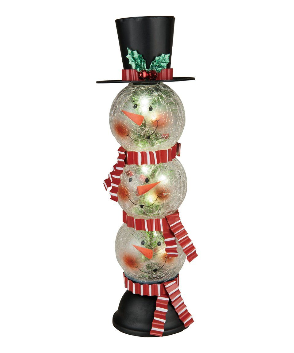 d4c8090bd24f0 Take a look at this Crackle Glass LED Stacked Snowman Head Figurine today!