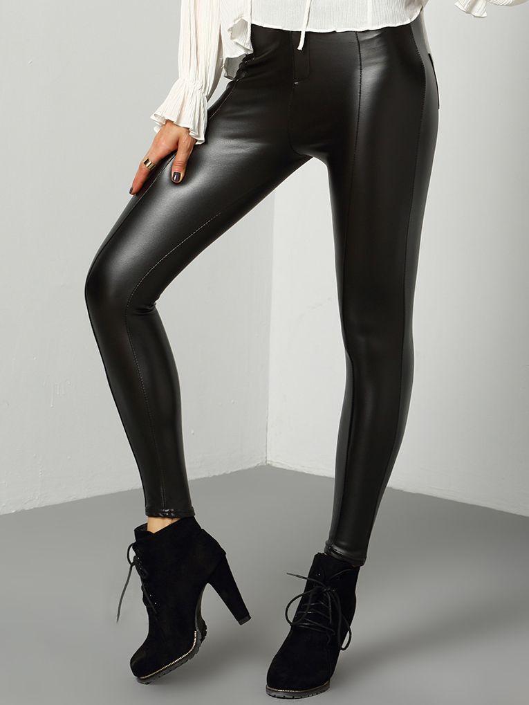 Pantalón skinny pu-(Sheinside)