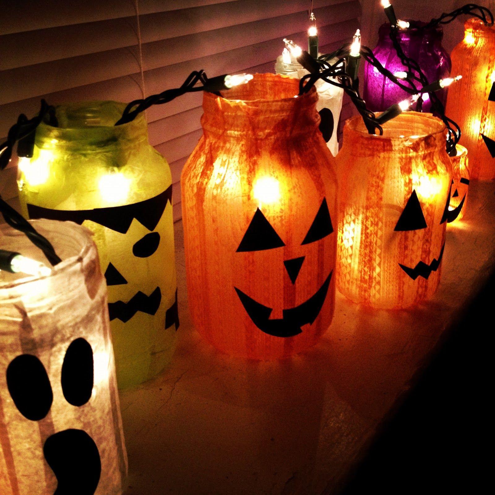 Crafty Lumberjacks Simple Halloween Jars Jars, Tissue Paper, Glue (Or