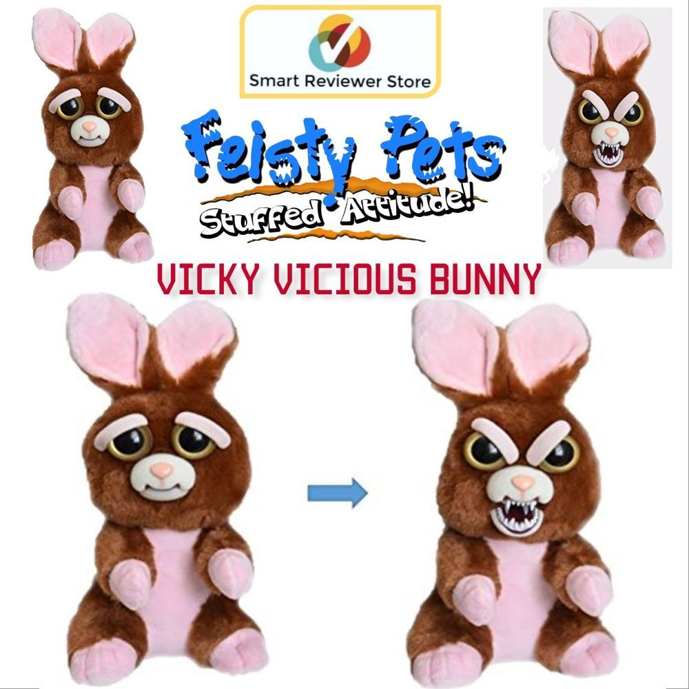 Feisty Pets Cute To Scary Stuffed Animal Plush Squeeze Toy Vicky Vicious Bunny Feistypets Pets For Sale Bunny Plush Toys
