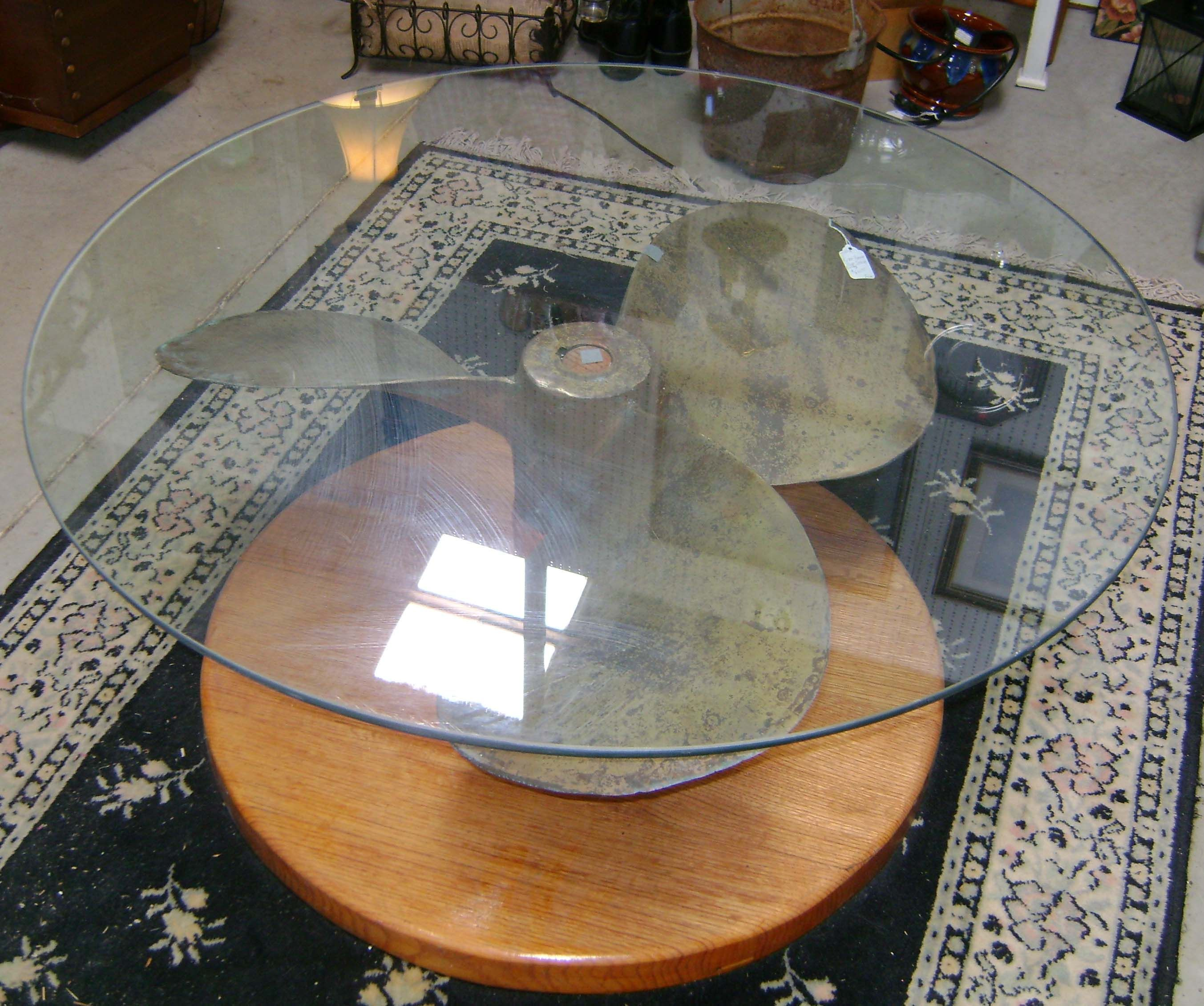 Glass Top Coffee Table Made From A Propeller Salvaged From A Riverboat On The Mississippi Handmade By Coffee Table Industrial Style Furniture Propeller Decor [ 2262 x 2706 Pixel ]