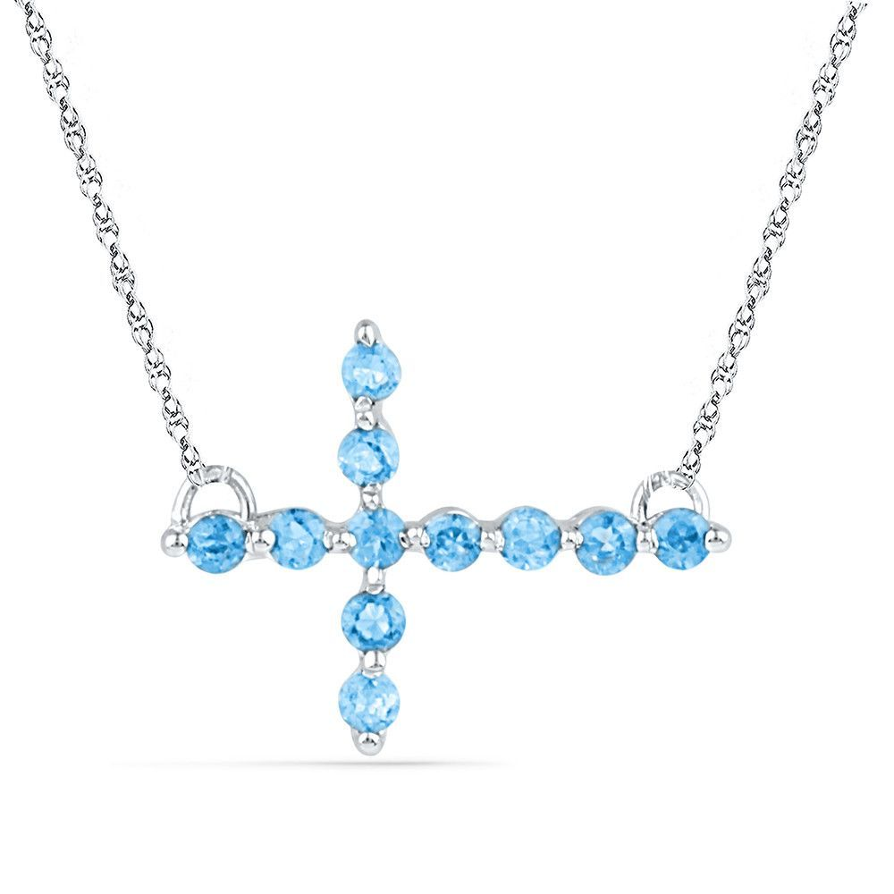 Sterling Silver Womens Round Lab-Created Blue Topaz Cross Faith Pendant Necklace 1/5 Cttw 101282