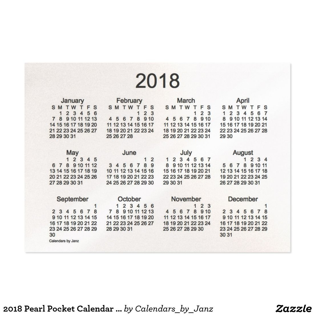 2018 Pearl Pocket Calendar by Janz Business Card | ☺PIN YOUR WORK ...